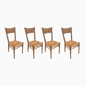 Straw Chairs, 1960s, Set of 4