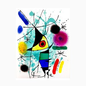 Abstract Lithograph by Joan Miro, 1972