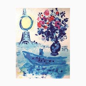 Litografia Bateau au Bouquet di Marc Chagall, 1962