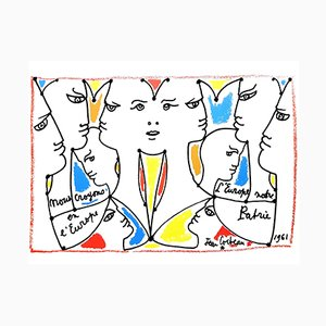 Europe Our Country Lithograph by Jean Cocteau, 1961