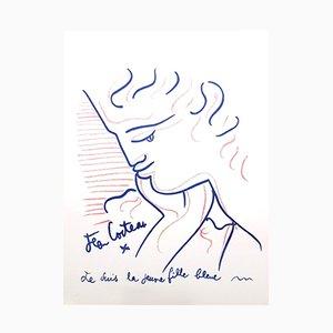Litografía Blue Lady de Jean Cocteau, 1958