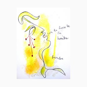 Profile Lithograph by Jean Cocteau, 1965