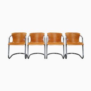 Cognac Leather Dining Chairs by Willy Rizzo, 1970s, Set of 4