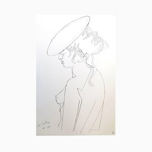 Vintage Woman's Profile Lithograph by Jean Cocteau
