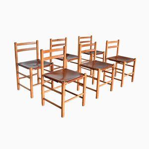 Pine & Leather Dining Chairs by Ate Van Apeldoorn for Houtwerk Hattem, 1970s, Set of 6