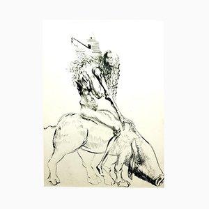 Grabado Baubo (Woman Riding a Sow) de Faust Etching de Salvador Dalí, 1969