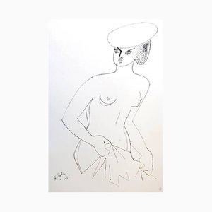 Actress Lithografie von Jean Cocteau, 1956
