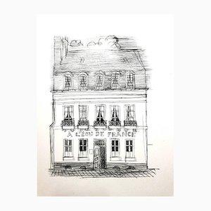 Aguafuerte A L'Ecu de France de Raoul Dufy, años 40