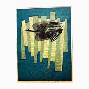 Incisione Free Bird firmata di Fumio Fujita, 1964