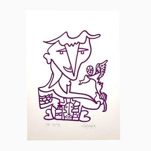 Litografía firmada a mano de Charles Lapicque, años 60