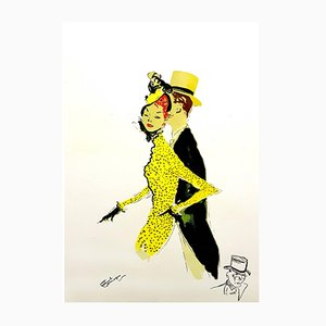 Elegant Couple Lithograph by Jean-Gabriel Domergue, 1956