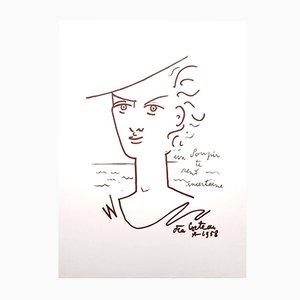 Woman Portrait Lithografie von Jean Cocteau, 1958