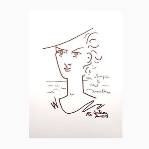 Woman Portrait Lithograph by Jean Cocteau, 1958