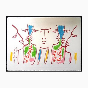 Europe Our Homeland Lithograph by Jean Cocteau, 1961