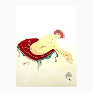 Litografía Elegance de Jean-Gabriel Domergue, 1956