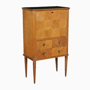 Cabinet with Drop-Leaf Door in Mahogany Veneer & Back-Treated Glass, 1950s