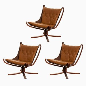 Falcon Lounge Chairs in Camel Leather by Sigurd Ressell, 1970s, Set of 3