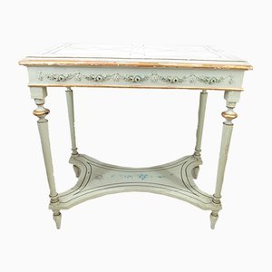 Antique Green-Lacquered Console Table with Gold Decorations
