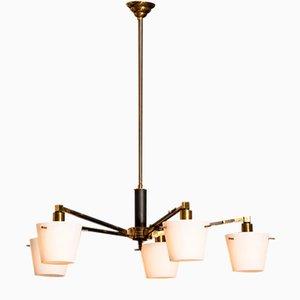 Kronleuchter aus Messing mit Lampenschirmen aus Milchglas von Stilnovo, 1950er