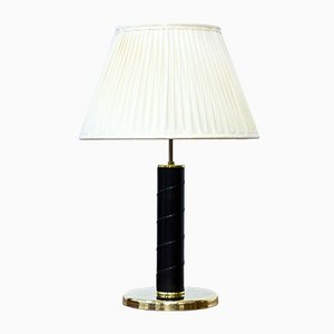 Swedish Brass and Leatherette Table Lamp from GMA, 1960s