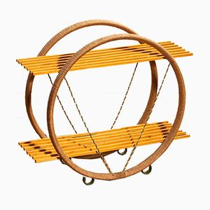 Circular Swedish Metal, Sisal, & Beech Shelf, 1940s
