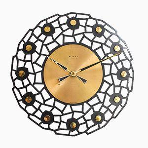 Orologio da parete Mid-Century in ottone di Weimar