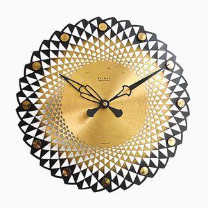 Orologio da muro Mid-Century in ottone di Weimar