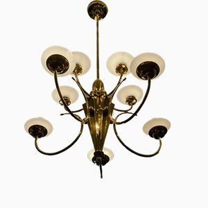 Art Deco German Brass and Satined Glass Chandelier