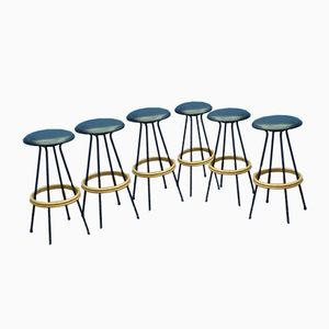 Skai Leather and Metal Bar Stools, 1950s, Set of 6
