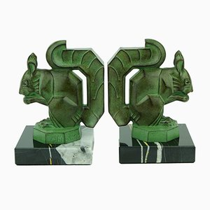 Art Deco French Squirrel Bookends by Max Le Verrier, 1920s