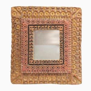 Spiegel mit Teigrahmen in Holz-Optik, 1950er
