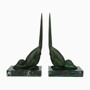 Fermalibri Art Déco a forma di uccelli di Marcel Bouraine per Max Le Verrier, Francia, anni '20