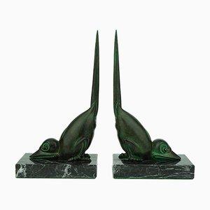 Sujetalibros francés Art Déco en forma de pájaro de Marcel Bouraine para Max Le Verrier, años 20