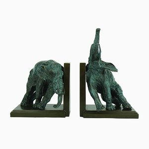 Art Deco Elephant Bookends by Ary Bitter, 1930s