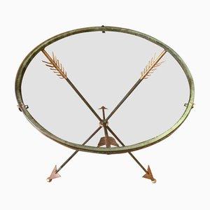 Tavolino vintage in vetro con gambe a freccia
