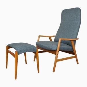 Dänischer Sessel & Fußhocker von Alf Svensson für Fritz Hansen, 1960er