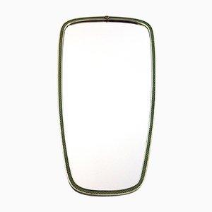 Espejo vintage de latón con marco en verde y dorado de Lachmayr, años 50