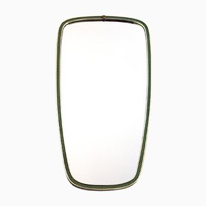Vintage Brass Mirror with Green & Gold Frame from Lachmayr, 1950s