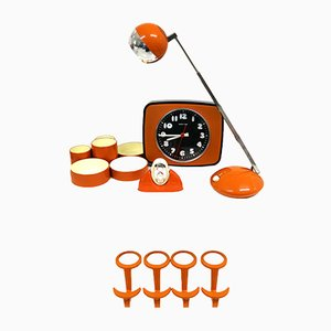 Juego de accesorios de oficina en naranja, años 60