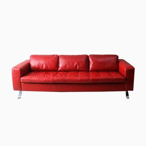 Large Danish Red Leather Sofa, 1980s