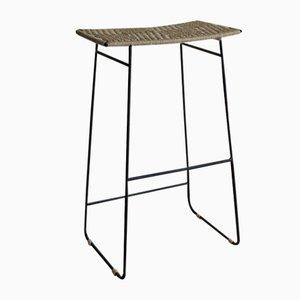 Taburete SHIBUI con patas de hierro y asiento de agave de 2monos para 2monos Studio