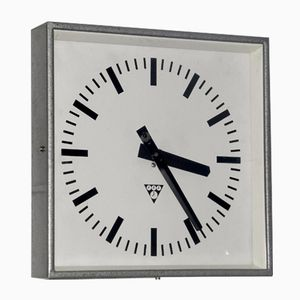 Industrial Czech Square Clock from Pragotron, 1960s