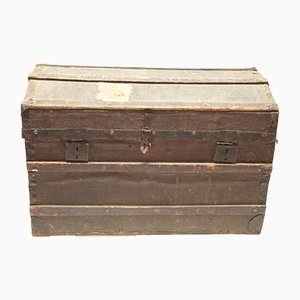 Antique Italian Travel Trunk in Painted Wood & Canvas
