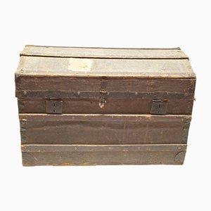 Baúl de viaje italiano antiguo de madera pintada y lona