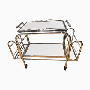 Chrome Bar Cart with Mirrored Tray, 1940s