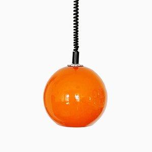 Petite Lampe à Suspension Sphérique en Verre Orange de Emi, 1960s
