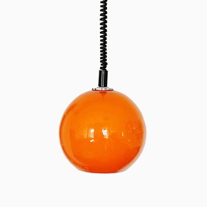 Small Orange Glass Pendant Sphere Lamp from Emi, 1960s