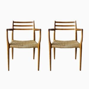 Modell 62 Sessel aus Teak von N.O Møller für J.L. Møllers, 1980er, 2er Set