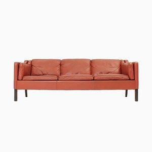 Sofá danés de cuero, años 60