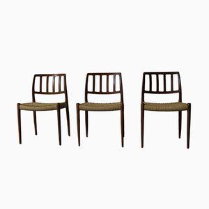 Vintage Modell 83 Stühle aus Schilfrohr und Teak von N.O Møller für J.L. Møllers, 3er Set